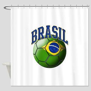 Flag of Brasil Soccer Ball Shower Curtain