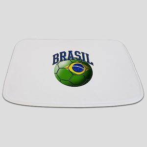 Flag of Brasil Soccer Ball Bathmat