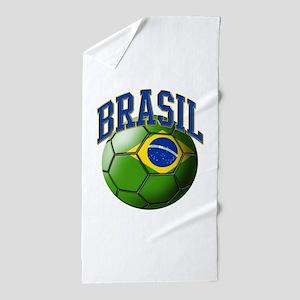 Flag of Brasil Soccer Ball Beach Towel
