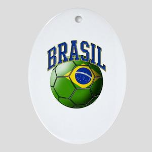 Flag of Brasil Soccer Ball Oval Ornament