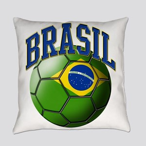 Flag of Brasil Soccer Ball Everyday Pillow