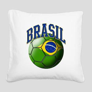 Flag of Brasil Soccer Ball Square Canvas Pillow