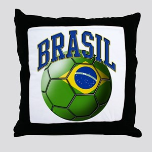 Flag of Brasil Soccer Ball Throw Pillow