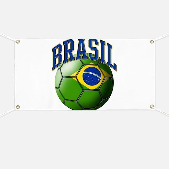 Flag of Brasil Soccer Ball Banner