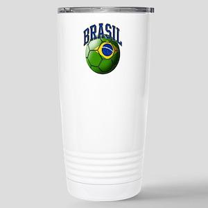 Flag of Brasil Soccer B Stainless Steel Travel Mug