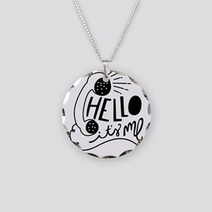 Hello Necklace Circle Charm
