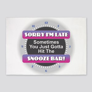 Sorry I'm Late - Snooze Bar 5'x7'Area Rug