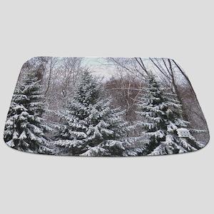 Snow covered pine Bathmat