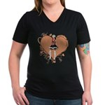 Valentine Wanted (Female) Women's V-Neck Dark T-Sh