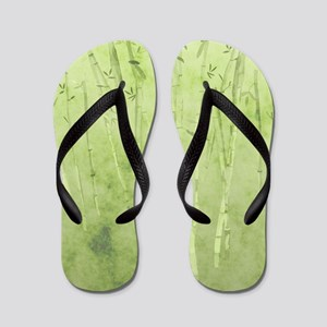 Green Bamboo Stalks Flip Flops
