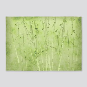 Green Bamboo Stalks 5'x7'Area Rug