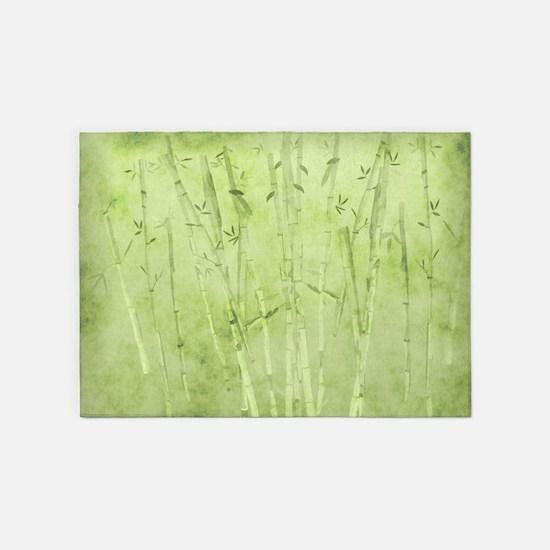 Green Bamboo Stalks 5'x7'Area Rug