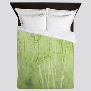 Green Bamboo Stalks Queen Duvet