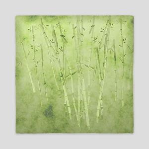Green Bamboo Stalks Queen Duvet