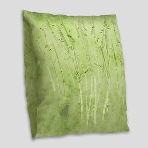 Green Bamboo Stalks Burlap Throw Pillow