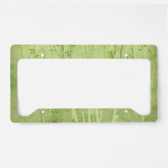 Green Bamboo Stalks License Plate Holder