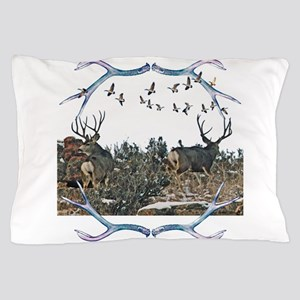 Buck mule deer and geese Pillow Case