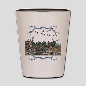 Buck mule deer and geese Shot Glass