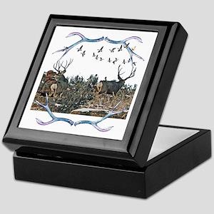 Buck mule deer and geese Keepsake Box
