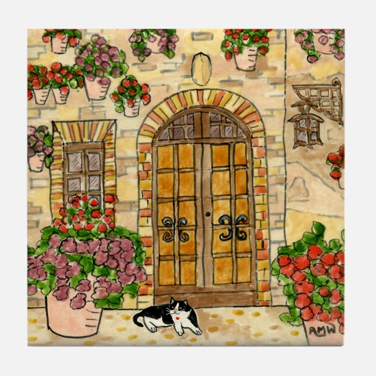 Tile Coaster, Assisi, Italy With Tuxedo Cat