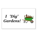 I Dig Gardens Sticker (Rectangle 10 pk)