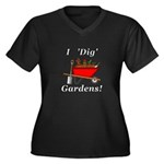I Dig Garden Women's Plus Size V-Neck Dark T-Shirt