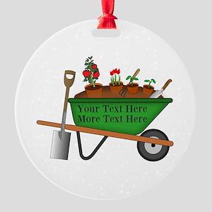 Personalized Green Wheelbarrow Round Ornament