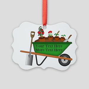 Personalized Green Wheelbarrow Picture Ornament