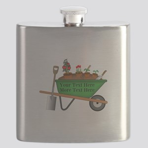 Personalized Green Wheelbarrow Flask