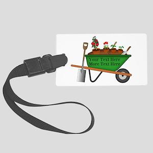 Personalized Green Wheelbarrow Large Luggage Tag