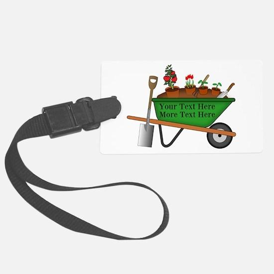 Personalized Green Wheelbarrow Luggage Tag