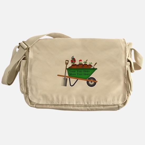 Personalized Green Wheelbarrow Messenger Bag
