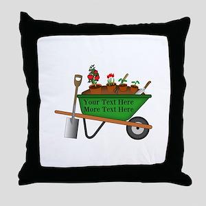 Personalized Green Wheelbarrow Throw Pillow