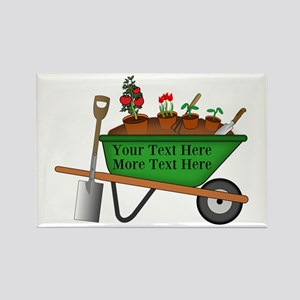 Personalized Green Wheelbarrow Rectangle Magnet