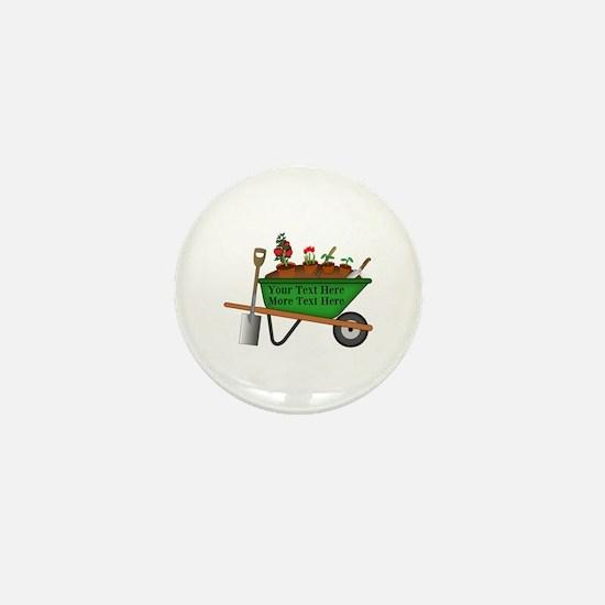 Personalized Green Wheelbarrow Mini Button