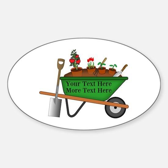 Personalized Green Wheelbarrow Sticker (Oval)