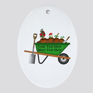 Personalized Green Wheelbarrow Oval Ornament