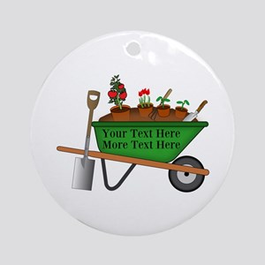 Personalized Green Wheelbarrow Round Ornament