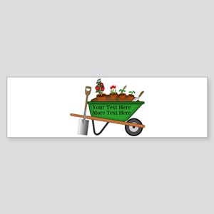 Personalized Green Wheelbarrow Sticker (Bumper)