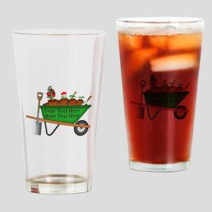 Personalized Green Wheelbarrow Drinking Glass