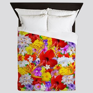 Exotic Flowers Colorful Explosion Queen Duvet