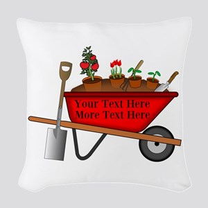 Personalized Red Wheelbarrow Woven Throw Pillow