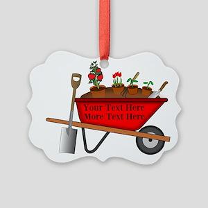 Personalized Red Wheelbarrow Picture Ornament