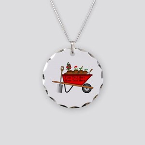 Personalized Red Wheelbarrow Necklace Circle Charm