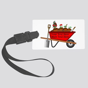 Personalized Red Wheelbarrow Large Luggage Tag