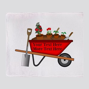Personalized Red Wheelbarrow Throw Blanket