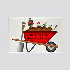 Personalized Red Wheelbarrow Rectangle Magnet