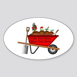 Personalized Red Wheelbarrow Sticker (Oval)