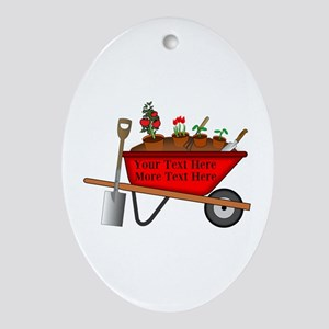 Personalized Red Wheelbarrow Oval Ornament