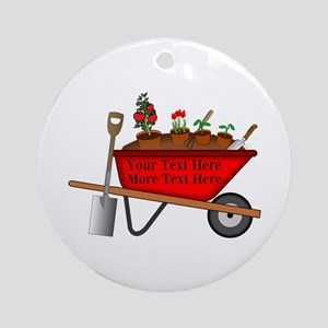 Personalized Red Wheelbarrow Round Ornament